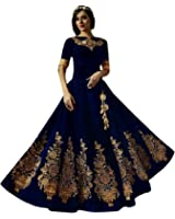 Shree Impex Embroidered Semi stitched gown (navy blue_free size)