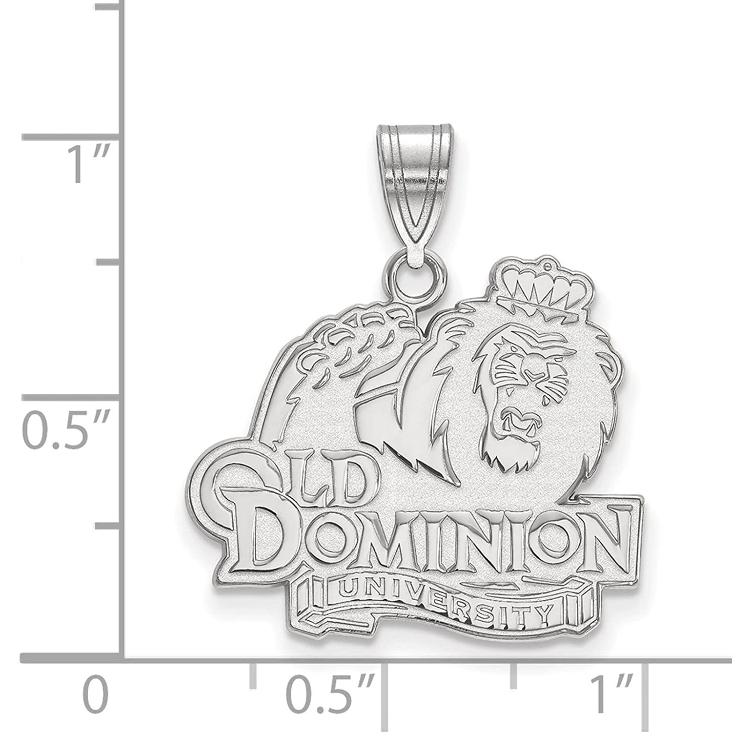 925 Sterling Silver Rhodium-plated Laser-cut Old Dominion University Large Pendant