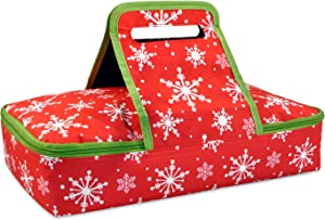 DII Insulated Casserole Carrier, Perfect for Holidays, BBQ's, Potlucks, Parties,To Go Lunches, Craft/Dish Storage & Monogramming - Snowflakes