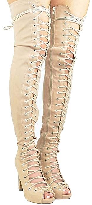 f32f1167 Chase & Chloe Benjamin-12 Chunky Heel Peep Toe Lace-Up Women's Thigh ...
