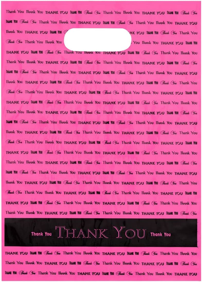 "9x12 Hot Pink""Thank You"" Die Cut Handle Plastic Bags 50/cs- Bags Direct Brand"