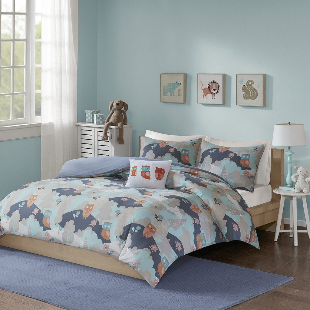 Ink+Ivy Kids Luna Twin Kids Duvet Cover Bed Set - Navy, Grey , Forest, Owls – 3 Piece Kids Girls Boys Bed Cover Duvet Set – 100% Cotton Percale Childrens Bedding Set