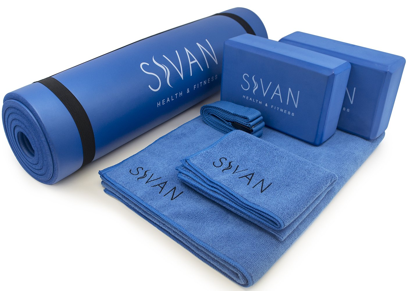 Sivan 6-Piece Yoga Set- Includes 1/2'' Ultra Thick NBR Exercise Mat, 2 Yoga Blocks, 1 Yoga Mat Towel, 1 Yoga Hand Towel and a Yoga Strap (Blue)