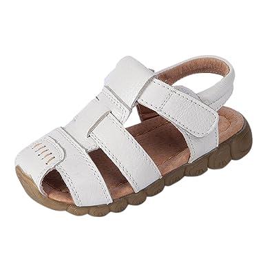 3ddb8de5750 YASSON Sandales Bébé Garçon en Cuir Été Enfants Chaussure Été Plat  Chaussures Tongs Antidérapant Blanc21