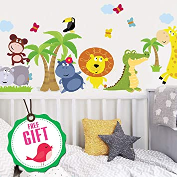 Animal Safari Jungle Vinyl Wall Decal for Kids Bedroom playroom -  Decorative Art Stickers for Baby...