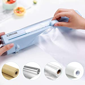 Karidge Reusable Plastic Wrap Dispenser with Cutter,Use for Food Saver Vacuum Sealer Bags Rolls, Cling Wrap, Kraft Paper Rolls, Aluminum Foil and Wax Paperetc,1 Roll of 8