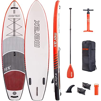 """Merax 106"""" Inflatable SUP Stand Up Paddle Board Wide Stance 6"""" Thick"""