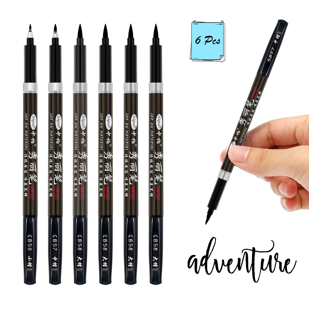2a6ebbff20b0 Hand Lettering Pens, Bowite Calligraphy Pens for Beginner, Pack of 6, 1 x  Fine, 1 x Medium and 4 x Brush Black, Universal Calligraphy, Sketch  Outline, ...
