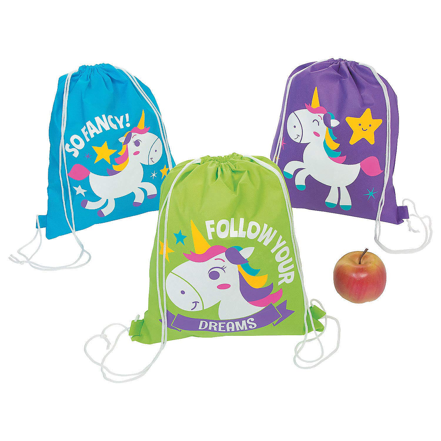 UNICORN Party drawstring backpacks tote bags - Set of 12