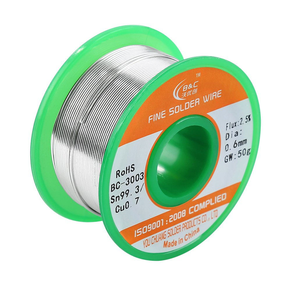 WYCTIN Lead Free Solder Wire Sn99.3 Cu0.7 0.6mm with Rosin Core for Electrical Soldering and DIYs