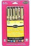 Sakura Pigma Micron Ampolla tarjeta de tinta Pen Set, Ass't Colors, 01 6CT Set