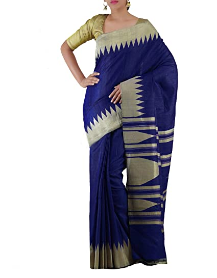 76cb03d982 Unnati Silks Women Blue Pure Handloom Jute Ghicha Tussar Silk Saree. Online  Shopping ...