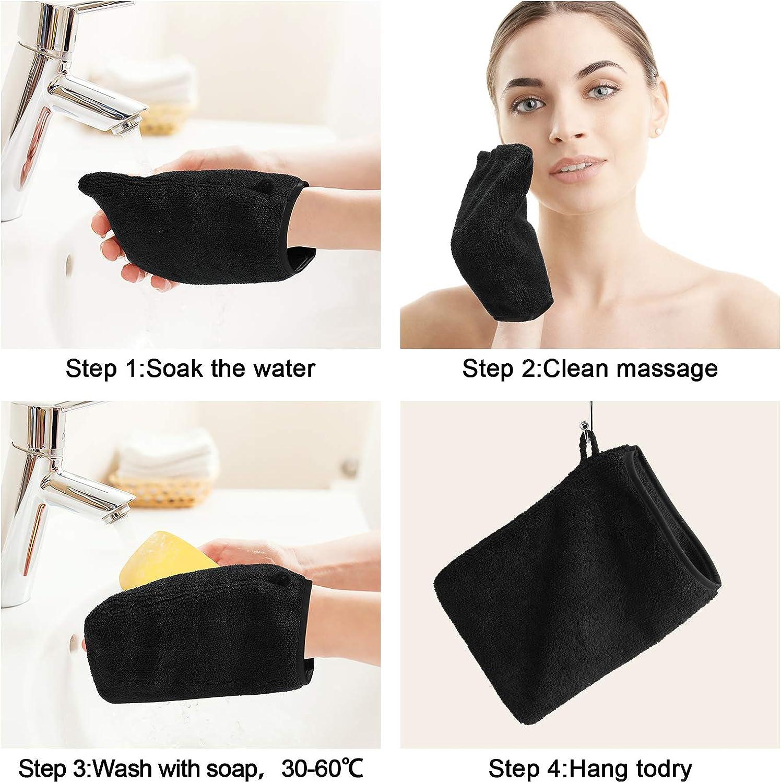 noir Taille 15 x 21 cm Gants de Bain de Tissu /éponge PHOGARY Lot de 10 Gants de Toilette Microfibre