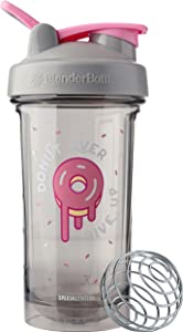 BlenderBottle C04202 Pro Series Foodie Shaker Bottle, 24oz, Donut Ever Give Up