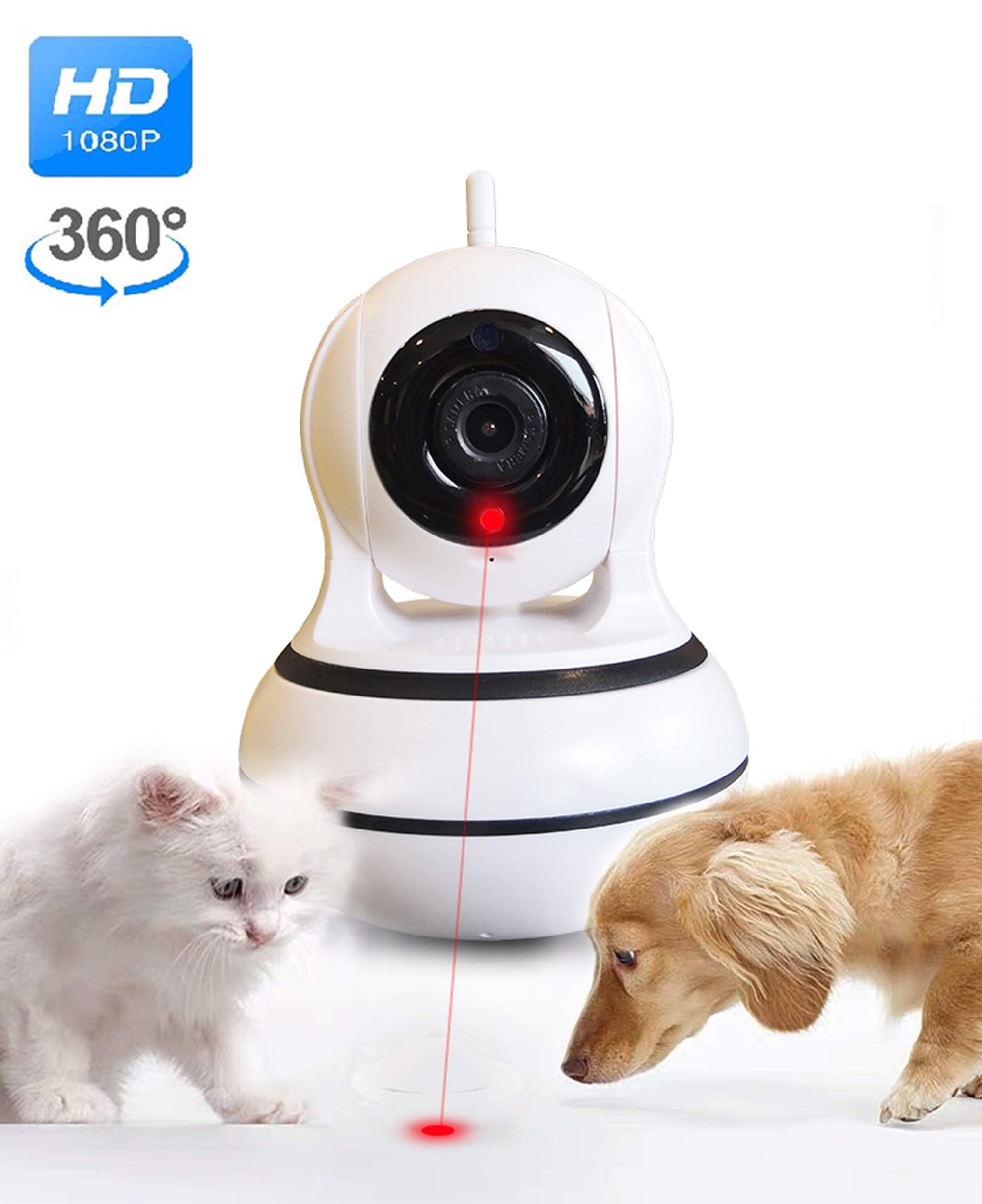DOGCOOL [New 2019] Smart Pet Camera,FHD 1080p Dog Camera with Interactive Laser Toy,360° Pet Monitor Cat Camera Sound Alerts& Auto Tracking,Night Vision by DOGCOOL