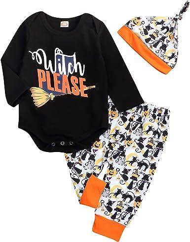 Halloween Days Baby Girls Boys Clothes Newborn Letter Romper Pumpkin Pants Hats Headband Outfits Set