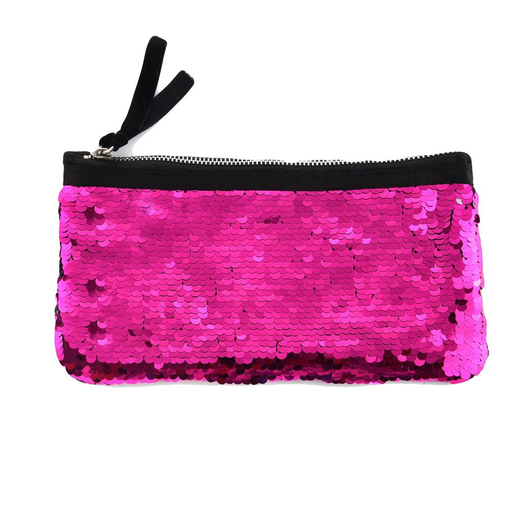 Clearance! Women Make-up Bag Double Color Sequins Coin Cards Holder Purse Wallet Pencil Pouch (P)