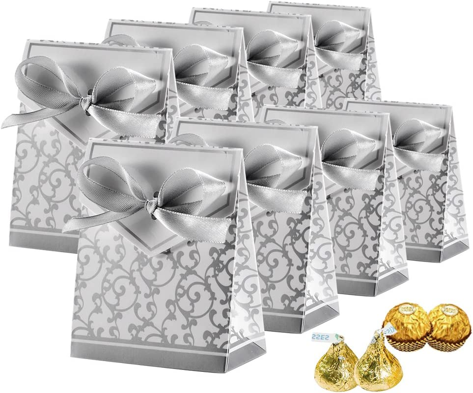 Johouse Candy Boxes, Gift Boxes Cake Boxes Candy Bag with Gift Ribbons for Wedding Party Favor Party Decoration Easter, Silver, 50 PCS
