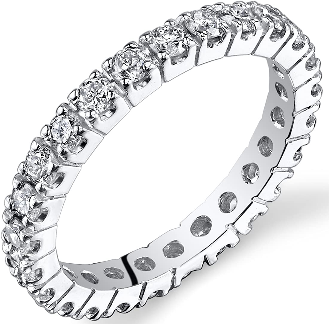 Peora Lab Grown Diamond 1 Carat Total Eternity Ring in 14K White Gold, Round Shape, E-F Color SI Clarity, Luxury Band for Women, 2mm width, Sizes 4 to 9