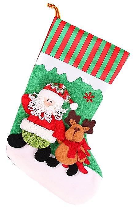 ohuhu christmas stockings ornament santa stocking 18 santa claus reindeer pattern felt applique - Amazon Christmas Stockings