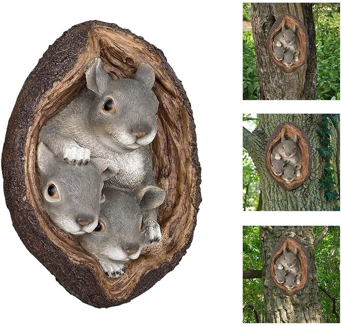 Tree Faces Decor Outdoor, Realistic Squirrel Tree Wall Decor Hanging Statue, Whimsical Garden Decor for Outside, Wall Sculpture Ornament for Indoor or Outdoor Decor