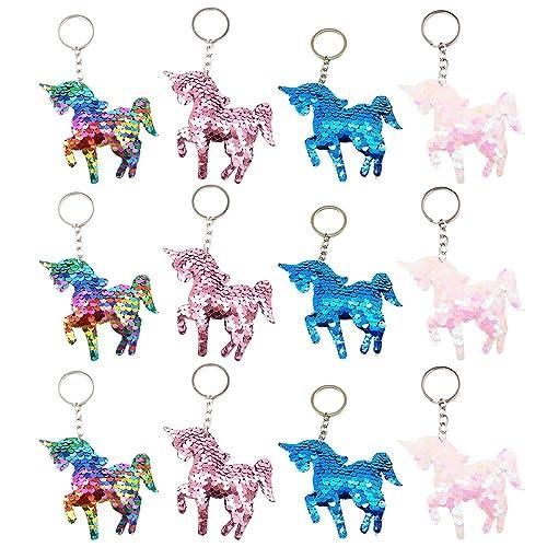 QearFun personalizados unicornio llaveros para niñas y felpa mullida arco iris lentejuelas llaveros bolso colgante decoraciones para niños, regalo de ...