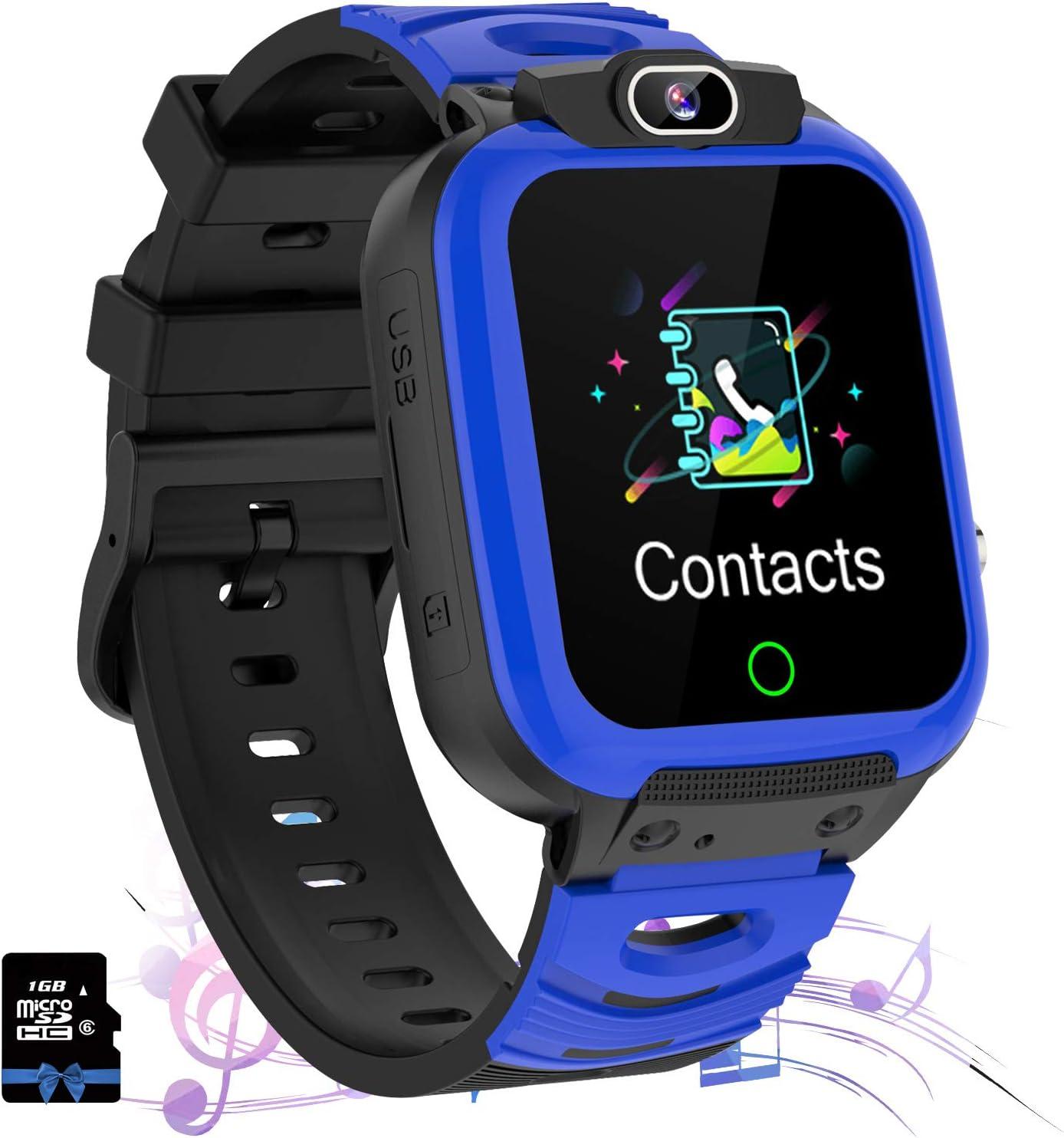 Jaybest Smartwatch Niños - Relojes Inteligentes Teléfono Niños con SOS Música 7 Juegos Cámara Grabación de vídeo Calculadora Pantalla Táctil, Reloj Llamada Niños Regalos para 4-12 Años (Azul Marino)