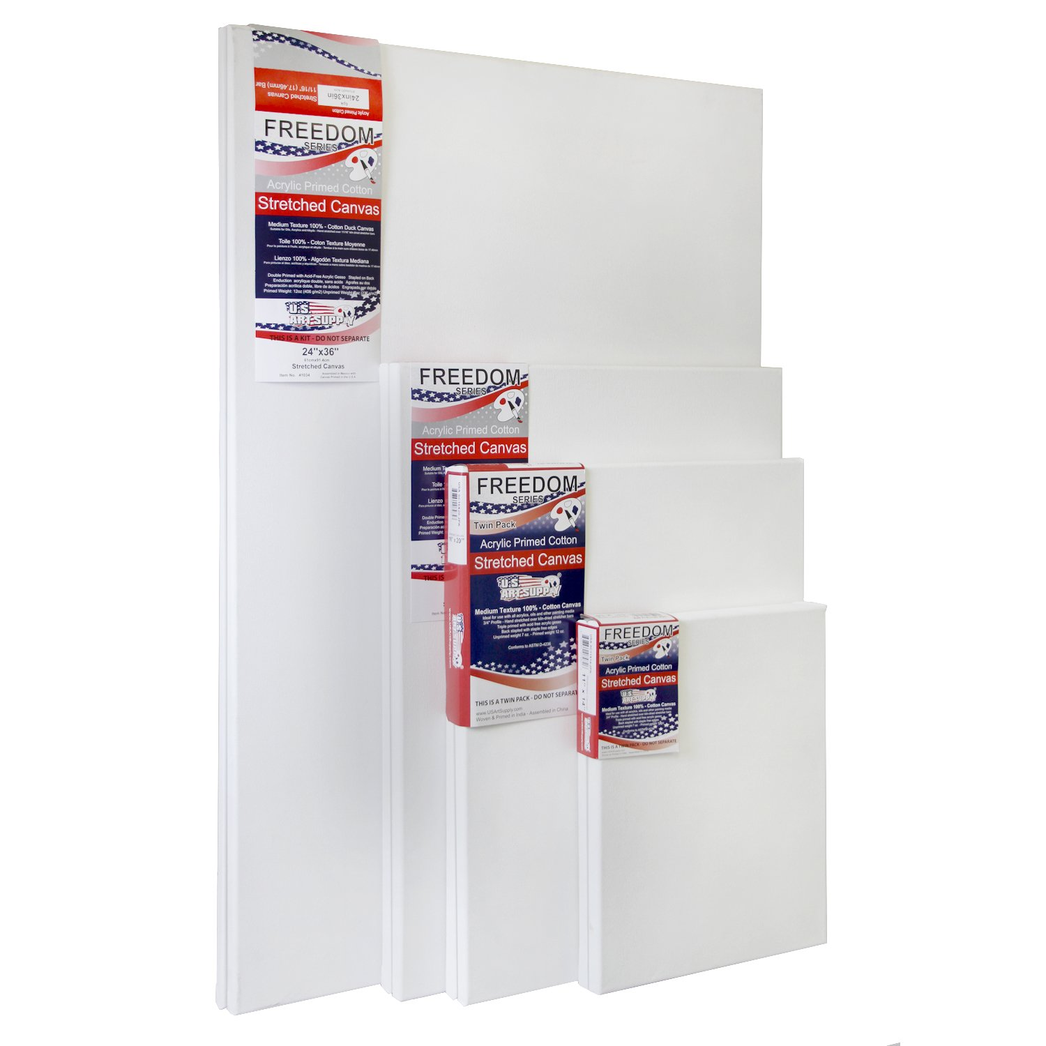 US Art Supply Professional Quality LARGE 12oz Primed Gesso Stretched Canvas Multi-pack - (This Kit Is for 8 Assorted LARGE Sized Canvases) 2 EACH OF 11x14, 16x20, 18x24, 24x36 ...
