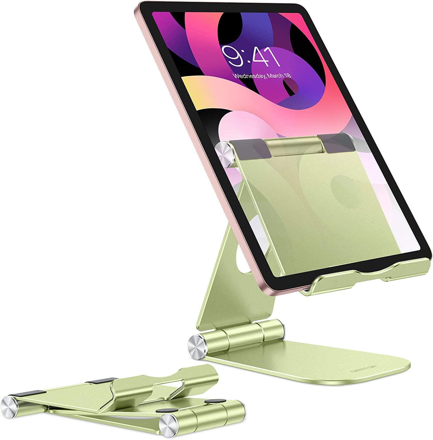 Kindle and More Cell Phones Samsung Galaxy Tabs 360/° Swivel Aluminum Desktop Tablet Holder Compatible with 4-11 Tablets White iPad OMOTON Tablet Stand
