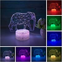 3D Illusion Lamp Elephant 3D Night Light for Kids 7 Color Changing Lights Desk Table Lamp Home Decor Sleep Lamp Best…