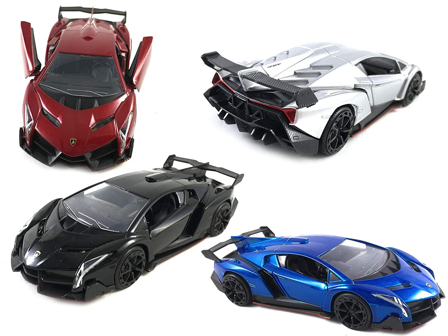 HCK Set of 4 2017 Lambo Veneno , Pull Back Toy Cars 132 Scale (Red, Black,  Silver, Blue)