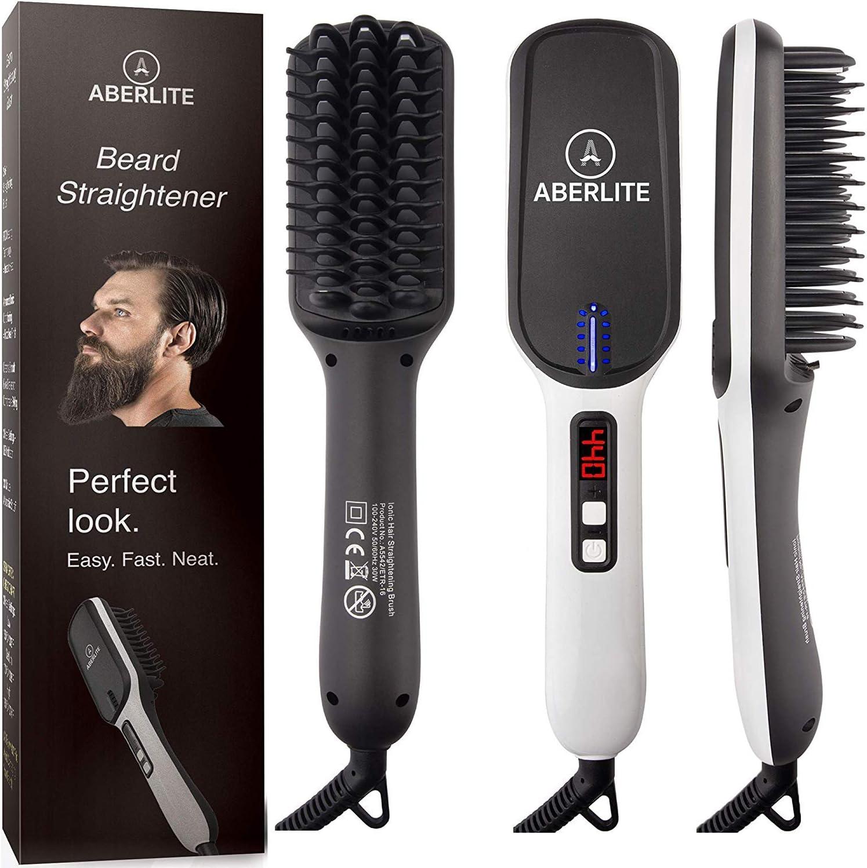 Amazon Com Upgraded Aberlite Max Beard Straightener For Men Beard Straightening Heat Brush Comb Ionic For Home Travel Health Personal Care