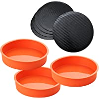 A Baker and Cook 3 Piece Round Silicone 18.42 x 3.81 cms (7 ¼ x 1.5 in) Cake Mold Baking Pan Set, Includes 5 Laminated Greaseproof Cardboard Cake Circles, Orange