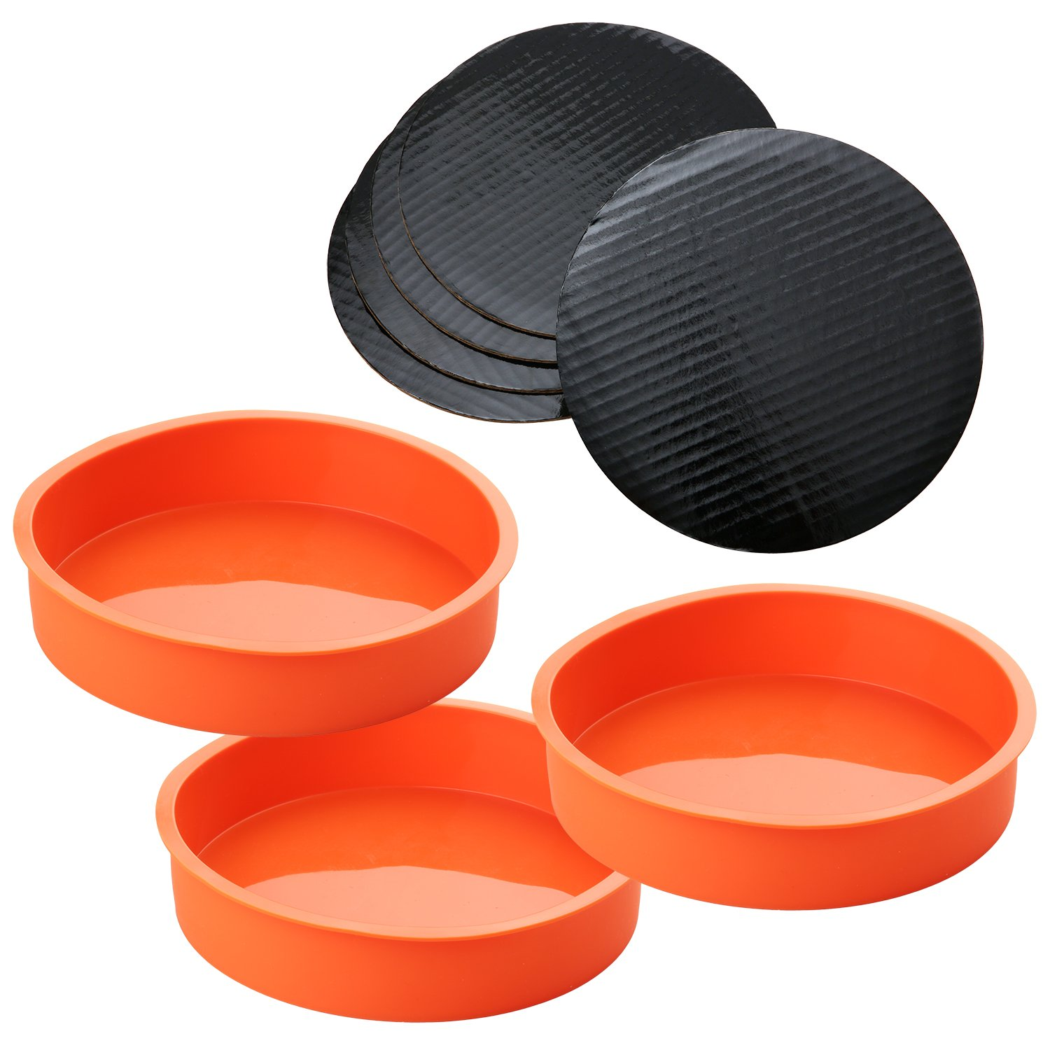 3 Piece Round Silicone 7 ¼ Inch Cake Mold Baking Pan Set, Includes 5 Laminated Greaseproof Cardboard Cake Circles by A Baker and Cook