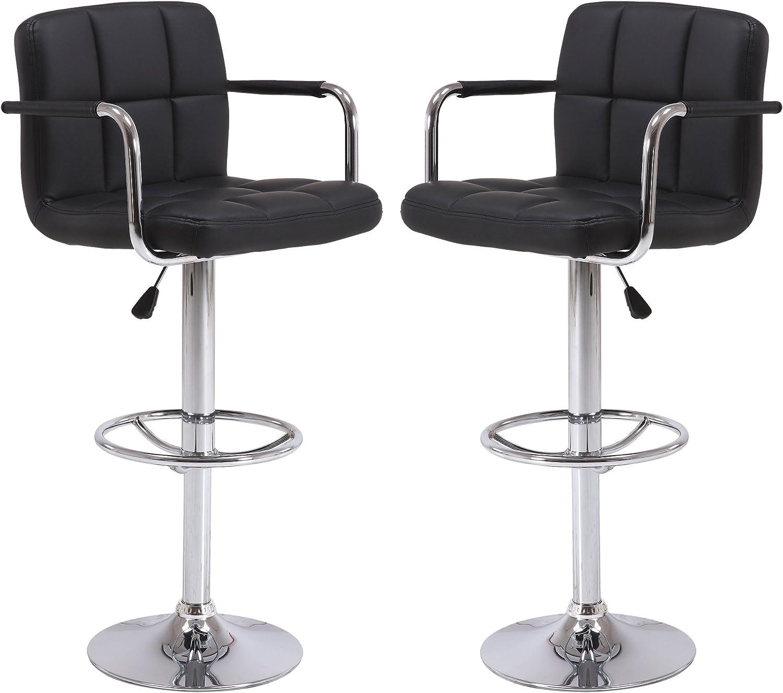 Vogue Furniture Direct Black Leather Adjustable Height Swivel Barstool Set with Armrest and Footrest Set of 2 VF1581021-2