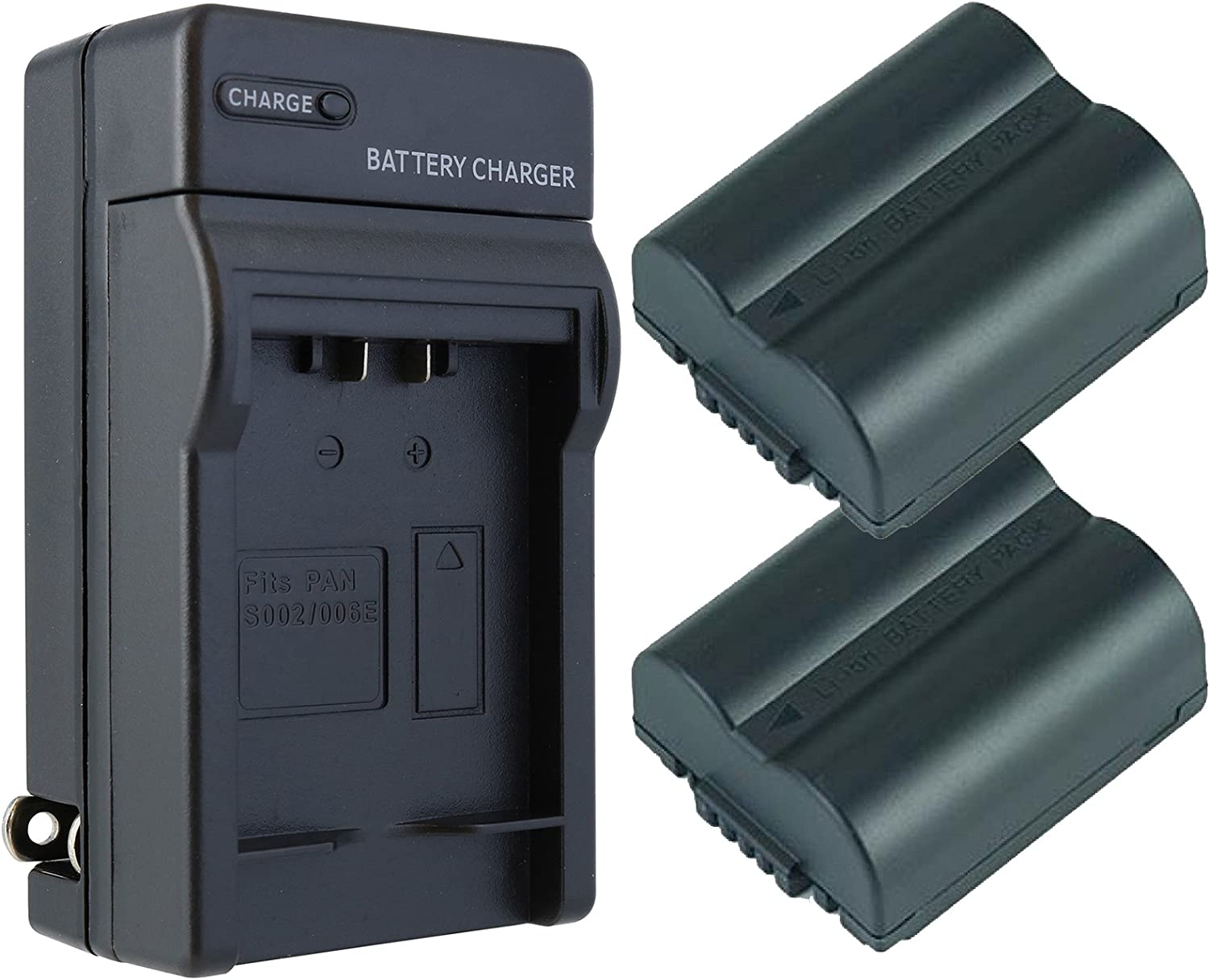 Replacement Battery (2-Pack) & Charger Set for Leica V-Lux 1 Digital Camera (1200mAh, 7.4V, Li-Ion)