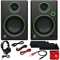 Mackie CR3 3in Creative Reference Multimedia Monitors Bundle with Tascam Studio Headphones Foam Isolation Pads and Pro Cable Kit