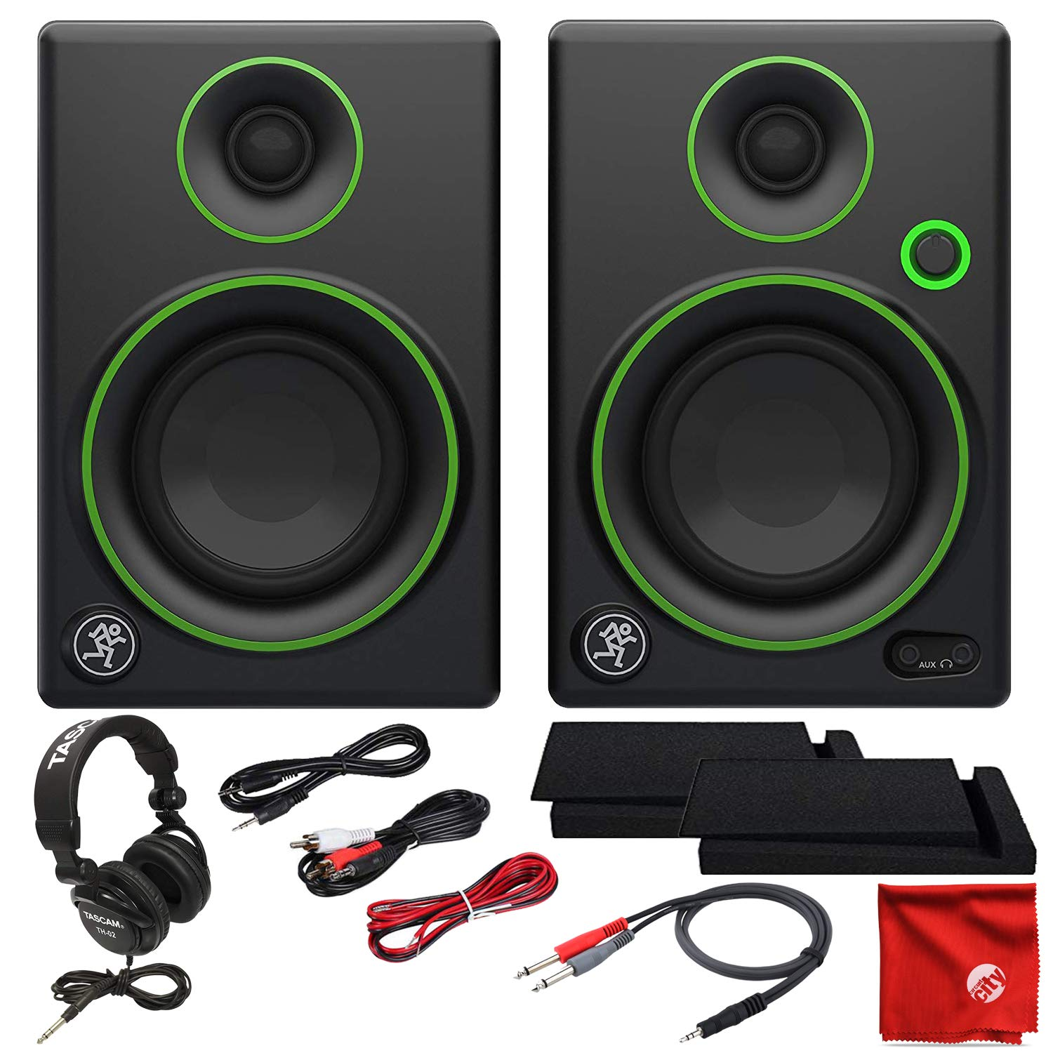 Mackie CR3 3-Inch Creative Reference Multimedia Monitors Bundle with Tascam Studio Headphones Foam Isolation Pads and Pro Cable Kit
