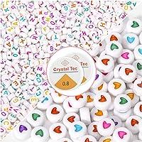 1200 Stks Acryl Alfabet Letter Kralen met Kristallen Draad voor Kids DIY Sieraden Maken Sleutelhangers