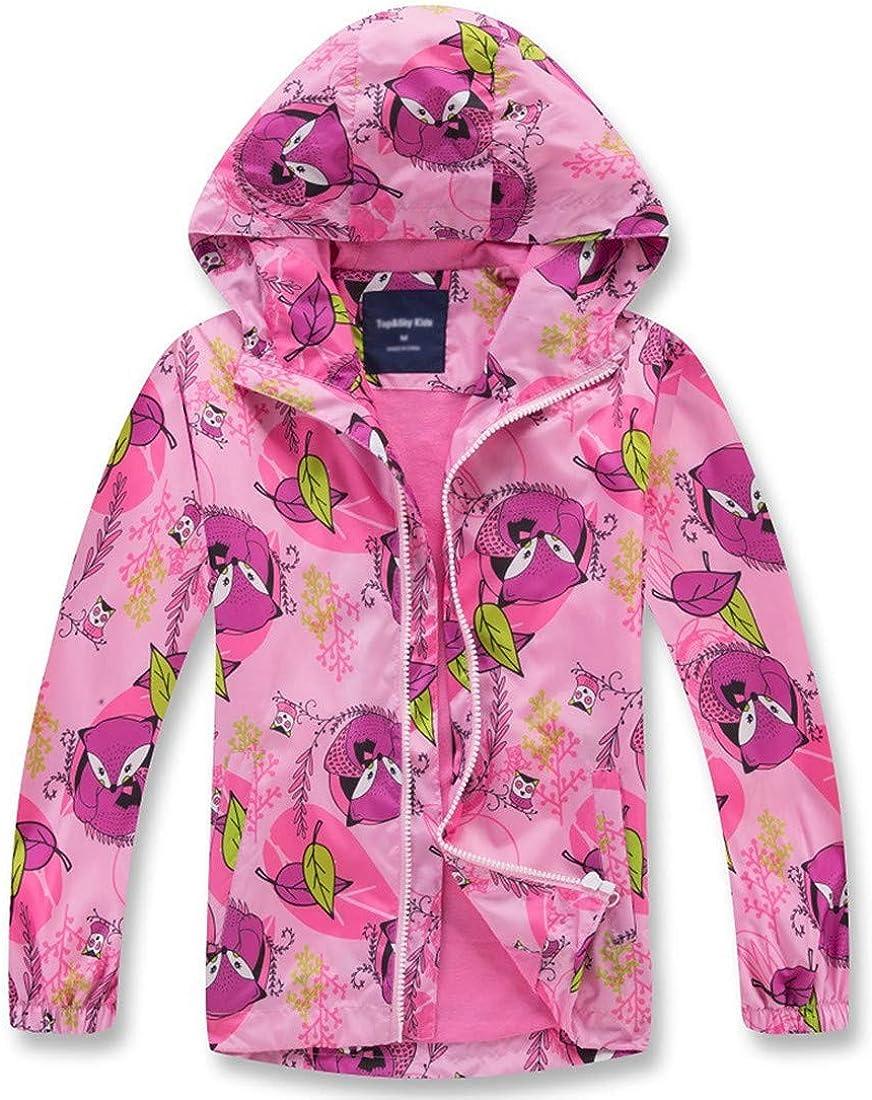 decathee Girls Boys Rain Jackets Lightweight Waterproof Raincoat Outdoor Hooded Breathable Windbreakers for Kids