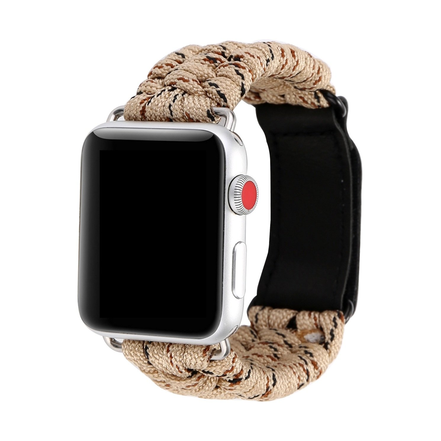 Juzzhou Watch Band For Apple iWatch Series 1/2/3 Sport Style Replacement Plait Textile Wriststrap Bracelet Watchband Wristband Wrist Strap With Adapter Magic Clasp Men Lady Women Camouflage Khaki 42mm