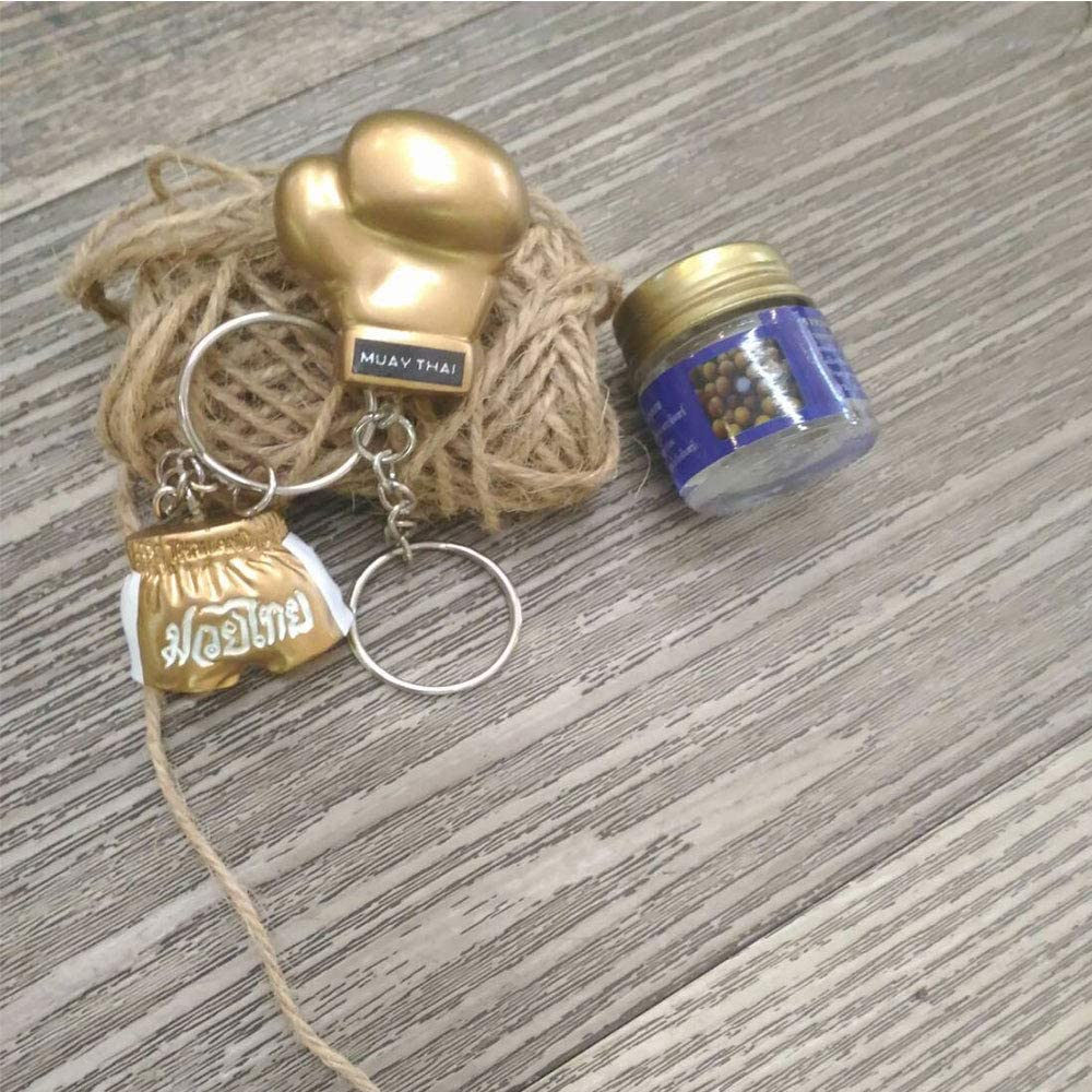 Honeybeloved Key Chain Boxing Glove Pants Ringside Mini Hanging Decoration Resin Souvenir Key Ring car Room Home Gold color1set 2Pcs