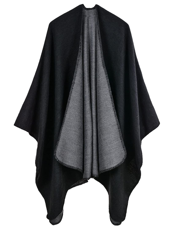 Clever Fashion Cloak Cape Blazer Women Work Wear Open Front Poncho Coat Notch Lapel Split Long Sleeve Casual Slim Suit Jacket Soft And Light Suits & Sets
