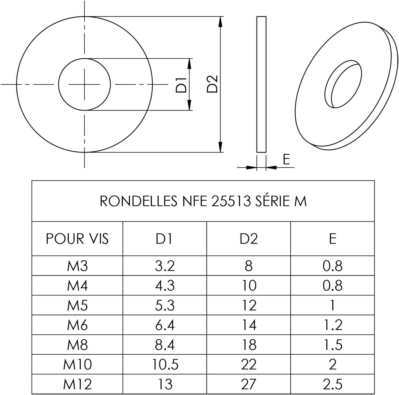 Easyboost 20 Arandelas M6 Planas Est/ándar NF-25513 Serie M Alta Calidad Acero Zincado Tornillos Met/álicos NFE25513M Ensamblaje Mec/ánico Modelado RC