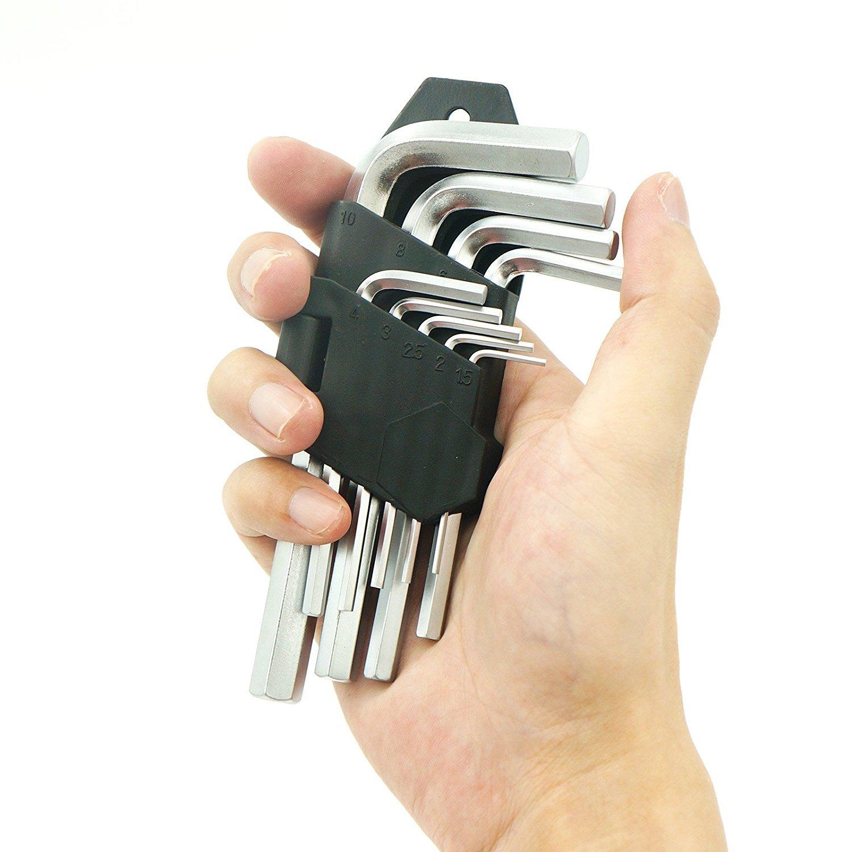 S 9pcs Short Arm Extra Long Arm Hex Key Wrench Key Set Flat Ended Metric /& SAE Standard Cr-V Industrial Heavy Duty