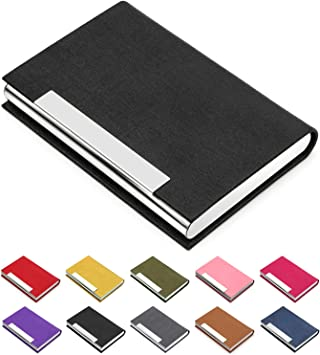 Professional Luxury PU Leather/&Stainless Steel Multi Business Card Case Business Card Holder Business Name Card Holder Wallet Credit Card ID Case//Holder Office Supplies for Women /& Men Rose red
