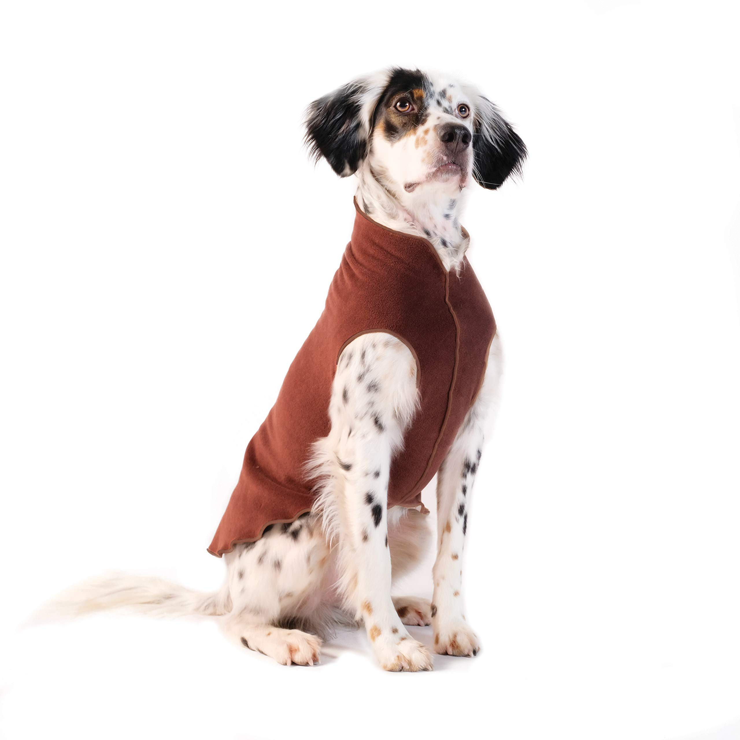 Gold Paw Stretch Fleece Dog Coat - Soft, Warm Dog Clothes, Stretchy Pet Sweater - Machine Washable, Eco Friendly - All Season - Sizes 2-33, Chestnut, Size 14