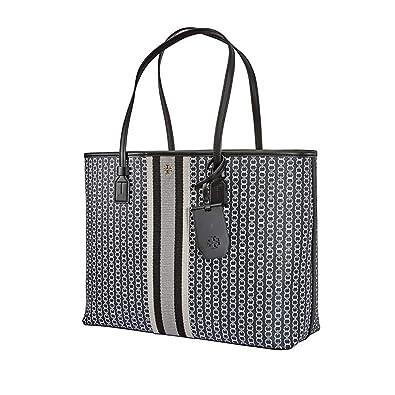 ba245bced17 Amazon.com: Tory Burch Gemini Link Canvas Black Large Tote Handbag: Clothing
