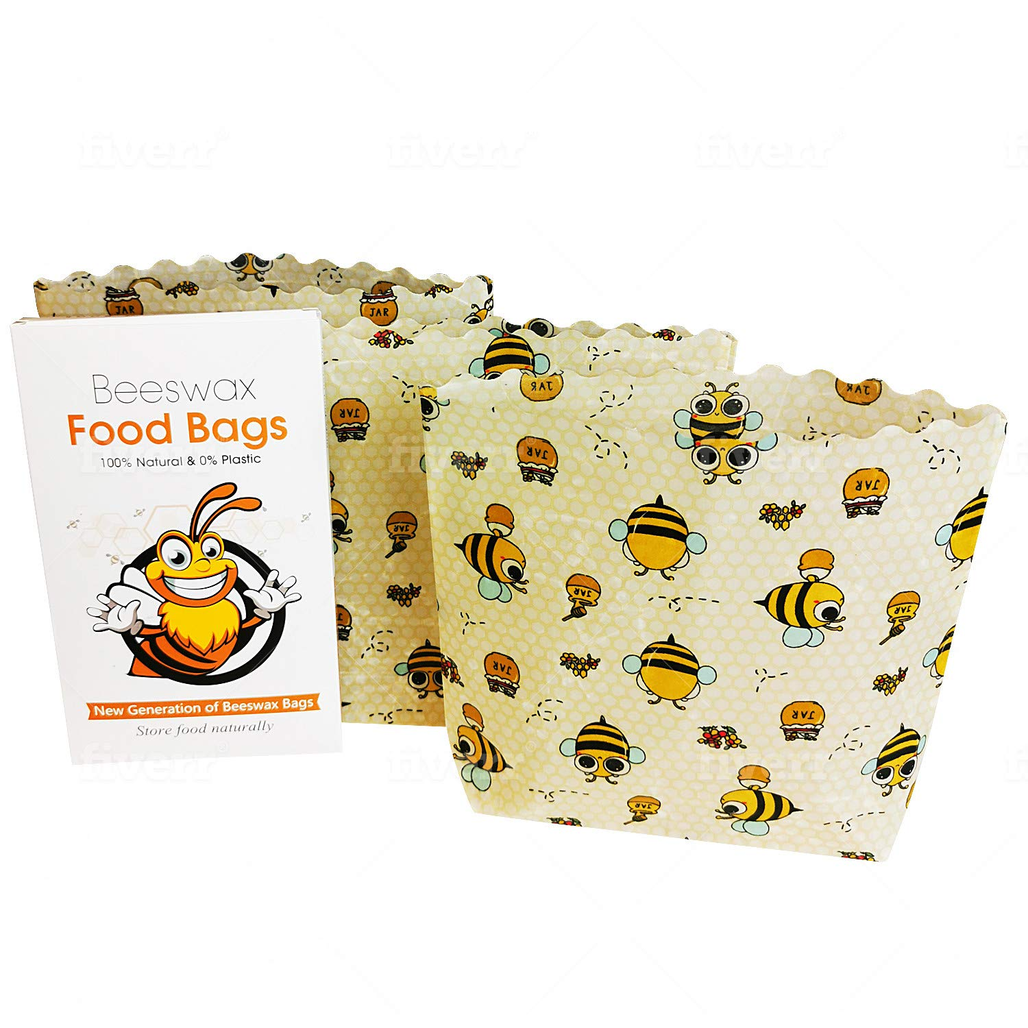 Beeswax Food Bags | 3 Small Size Bags 7x8x2 Inches | Cotton Fiber with Beeswax | Reusable & Biodegradable | Plastic-Free