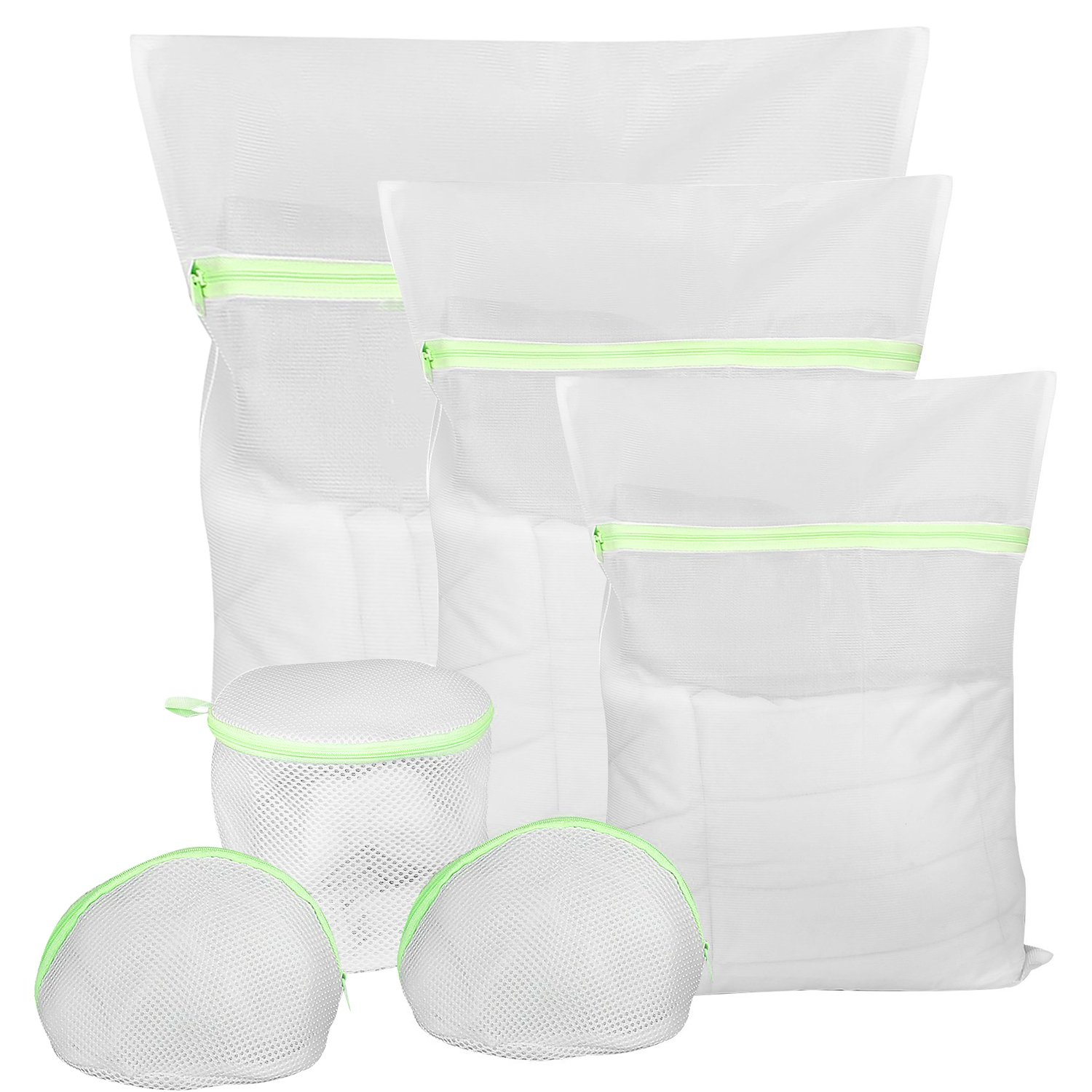 6 Pack Mesh Laundry Bags - 1 Extra Large, 1 Large, 1 Medium, 2 Triangular Shape Bra-Saver Bag, 1 Domed Wash Bag, Comsun Delicates Mesh Bags, Laundry Bags Set for Washing Sweater Underwear Bra